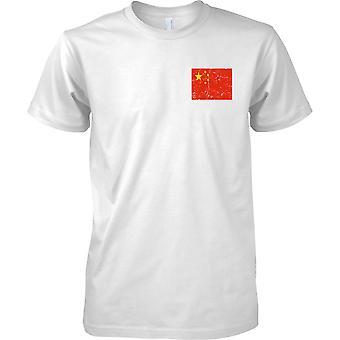 China Distressed Grunge Effect Flag Design - Mens Chest Design T-Shirt