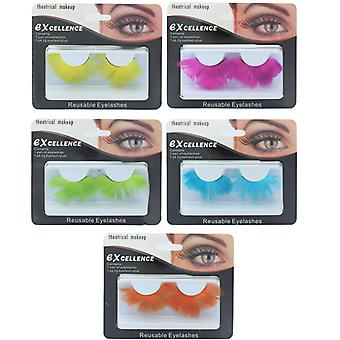 Excellence Theatrical Reusable Larger Feather Eyelashes with Adhesive