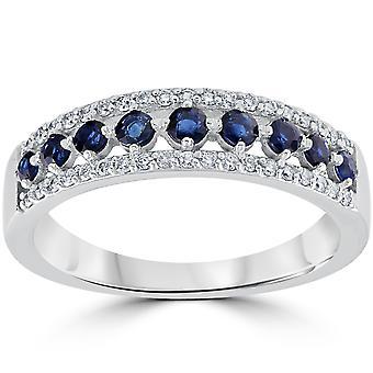 5/8 cttw Blue Sapphire & Diamond Wedding Ring Womens Band 14k White Gold