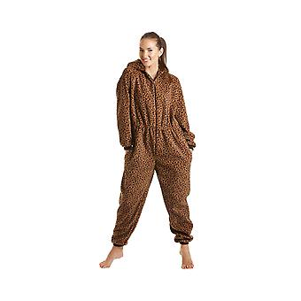 Camille Womens Ladies lusso tutto In un caramello Leopard Hooded Fleece Onesie pigiama taglie 10-40