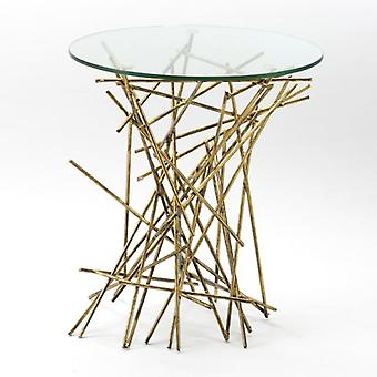 Wellindal Glass and Gold Metal Auxiliary Table