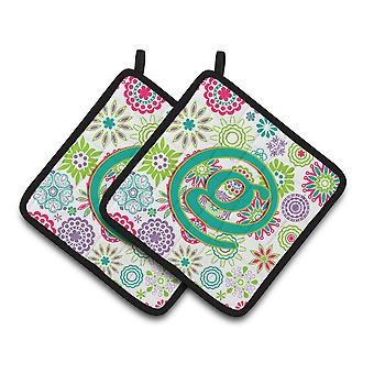 Letter G Flowers Pink Teal Green Initial Pair of Pot Holders