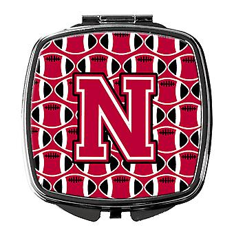 Letter N Football Crimson and White Compact Mirror