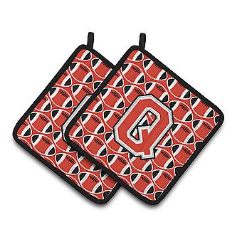 Letter Q Football Scarlet and Grey Pair of Pot Holders