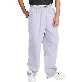 Click Chefs Elasticate Trousers Small Check Navy/White - Ccctsc