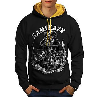 Kamikaze Death Horror Men Black (Gold Hood) Contrast Hoodie | Wellcoda