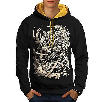 Dead Knight Bones Men Black (Gold Hood)Contrast Hoodie | Wellcoda