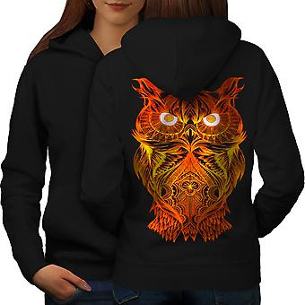 Night Owl On Fire Women BlackHoodie Back | Wellcoda