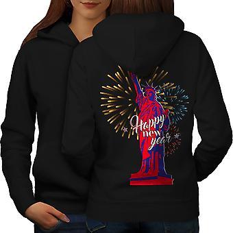 Vrijheid standbeeld Nieuwjaar vrouwen BlackHoodie rug | Wellcoda