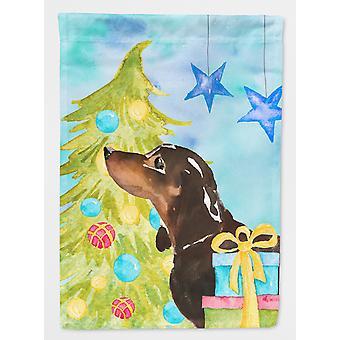 キャロラインズ宝物 BB9405GF 黒とタンのダックスフント クリスマス フラグ庭サイズ