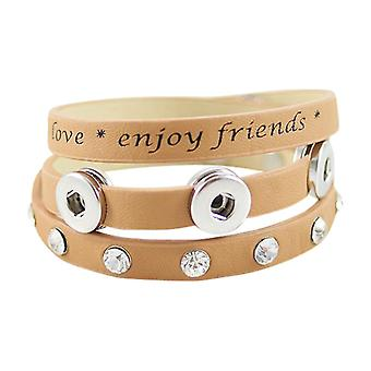 Triple Leather Bracelet For Mini Click Buttons Kb0845-s