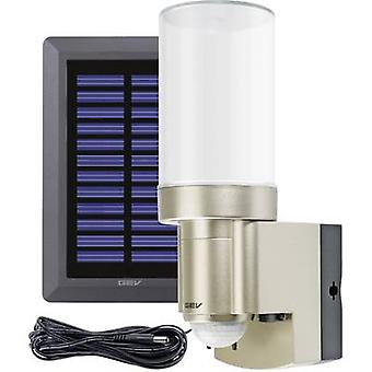 Solar outdoor wall light ( + motion detector) 3 W Daylight white GEV 014831 LPL 14831 Stainless steel