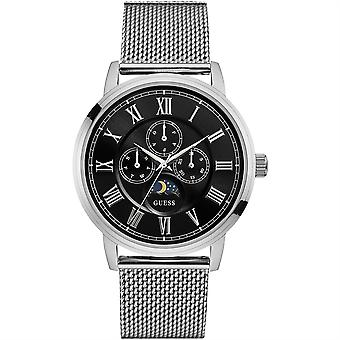 Guess Mens Watch Silver Black Delancy Luxury Mesh W0871G1