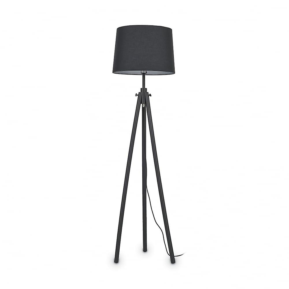 Ideal Lux York Tripod Floor Standing Tall Lamp, noir bois