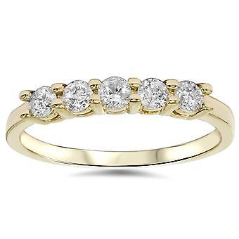 3/4ct Diamond 5-Stone Wedding Anniversary 14K Gold Ring