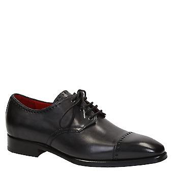 Handgemachte Derby-Schuhe für Männer in dunklem Grau Leder