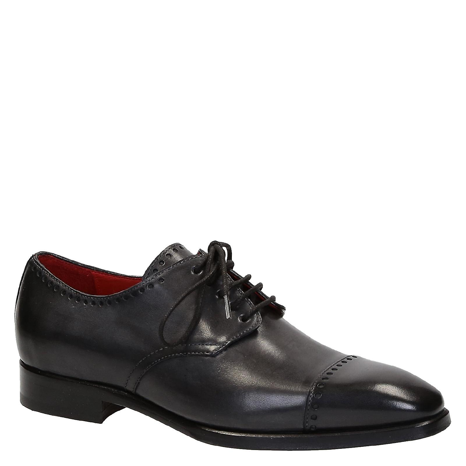 Handmade derby shoes for men in dark grey leather