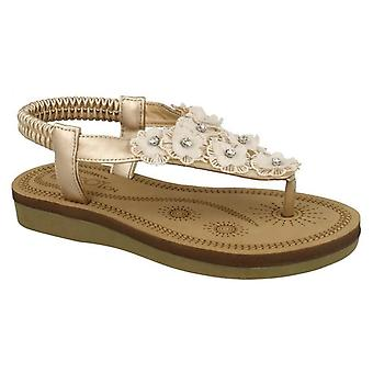 Infant Girls Low Wedge Flower Trim Toe Post Sling Slip On Sandals Shoes