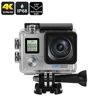 4K sport Action kamera - 4K Video, 16MP foto, Sony 16MP 1/3.2-tums CMOS-Sensor, 170-graders lins, IP68, WiFi (Silver)