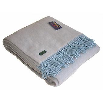 Fawn & Duck Egg Bleu chevrons pure laine vierge Throw / Couverture