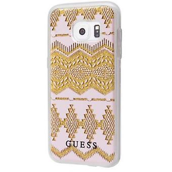 Guess manica tribale Hard Cover beige per Samsung Galaxy S7