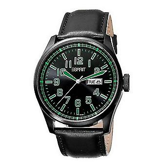 ESPRIT mens watch wristwatch axis green leather ES103151003