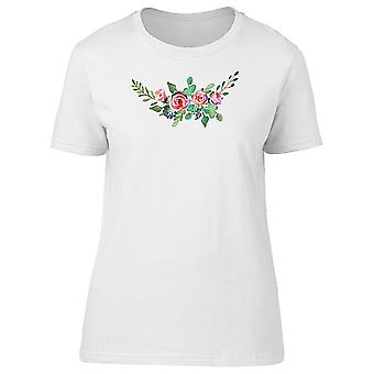 Pink Roses Leaves Flowers Tee Women's -Image by Shutterstock