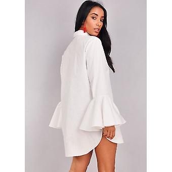 Flauto manica maglia Mini abito bianco