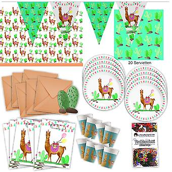 Lama Cactus party set XL 57-teilig for 6 guests Lama party birthday decoration party package