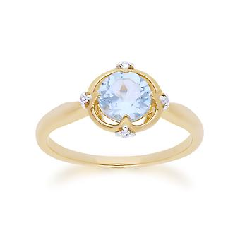 Gemondo 9ct Yellow Gold Halo Topaz & Diamond runt skär Ring