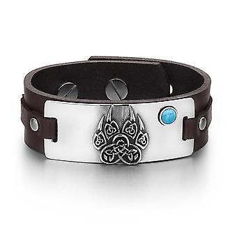Aztecs Ancient Celtic Knots Wolf Paw Amulet Simulated Turquoise Adjustable Brown Leather Bracelet
