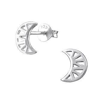 Geometric Moon - 925 Sterling Silver Plain Ear Studs - W31744x