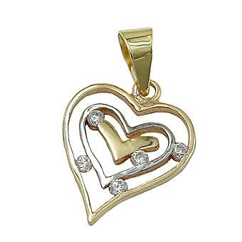 Corazón colgante 375 colgantes oro, corazón bicolor, zirconia cúbico, 9 KT