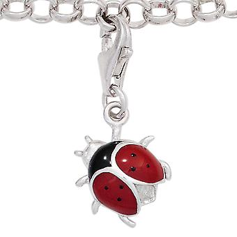 Одной серьги очарование Божья коровка 925 стерлингового серебра родием красный черный