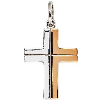 Pendant cross 585 white gold red bicolor charm