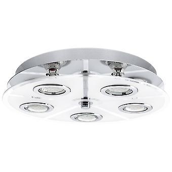 Eglo Cabo Modern Semi Flush Round Glass LED 5 Spotlight