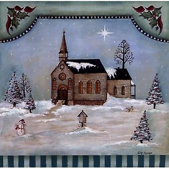 Winter Church Poster Print by Pat Fischer (12 x 12)