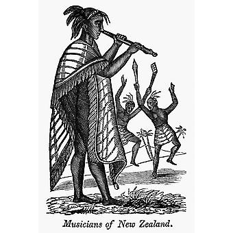 Maori Musicians NMusicians Of New Zealand Wood Engraving 19Th Century Poster Print by Granger Collection