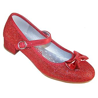 Girls red sparkly low heeled occasion shoes - FREE HAIR CLIPS