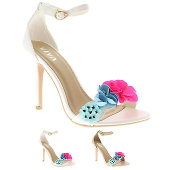Womens Floral Fashion Cut Out Barely There Sandals Open Toe Strap Heels UK 3-10