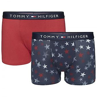 Tommy Hilfiger Boys 2 Pack pictogram Boxer stam, Navy Blazer sterren / Scooter rood, X-Large