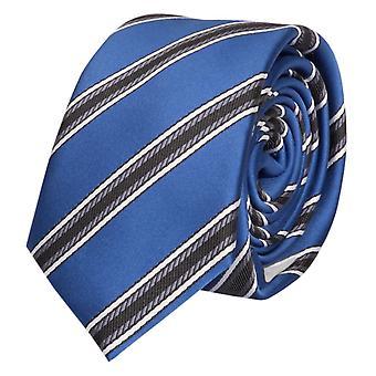 Cravate laine, cravate cravate 6cm bleu gris Fabio Farini blanc rayé