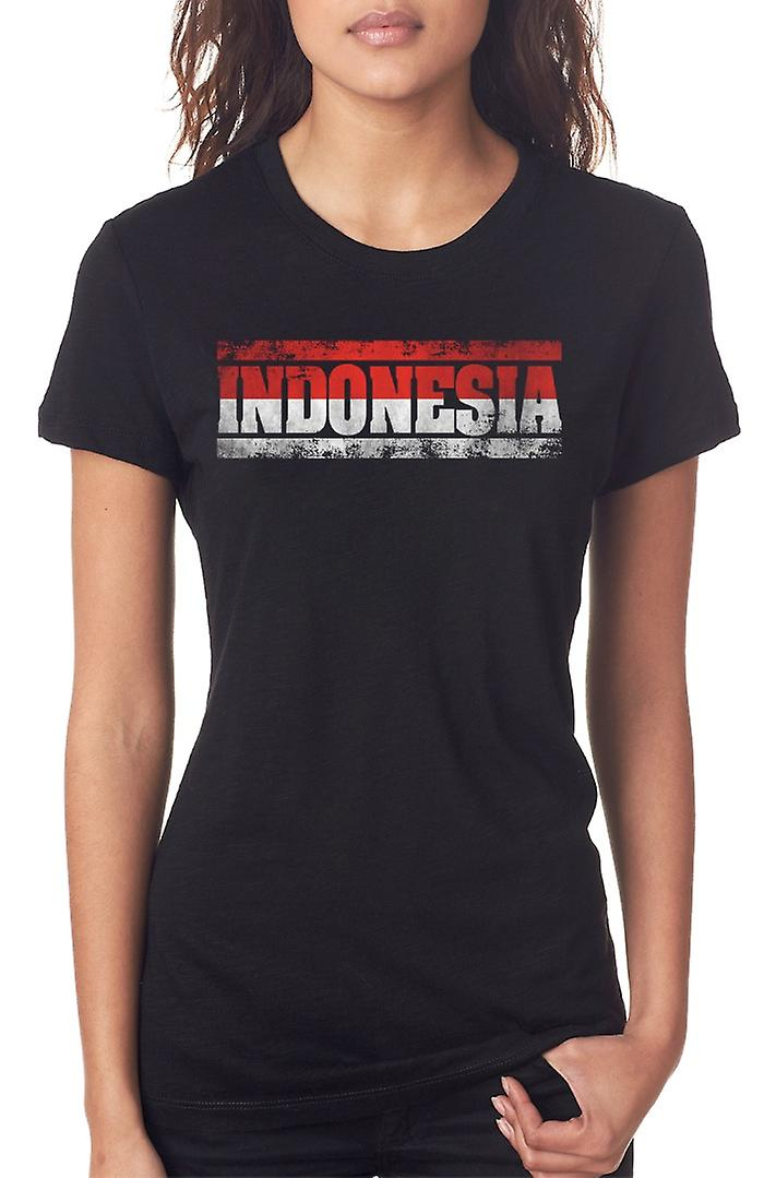 Bandiera indonesiana di Indonesia - parole Ladies T Shirt