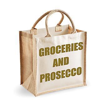 Mittlere natürliche Gold Jute Beutel Lebensmittel und Prosecco