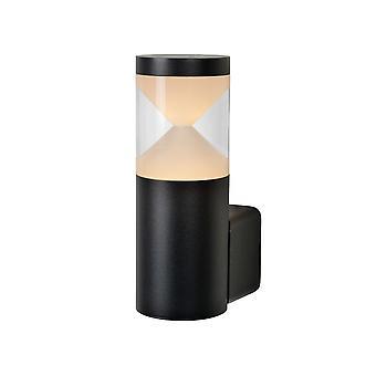 Lucide Teo LED luz de parede preta de alumínio cilindro moderna