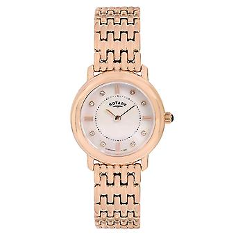 Rotary Rose Goldtone Mother of Pearl Dial Stainless Steel Strap Watch LB00347/41