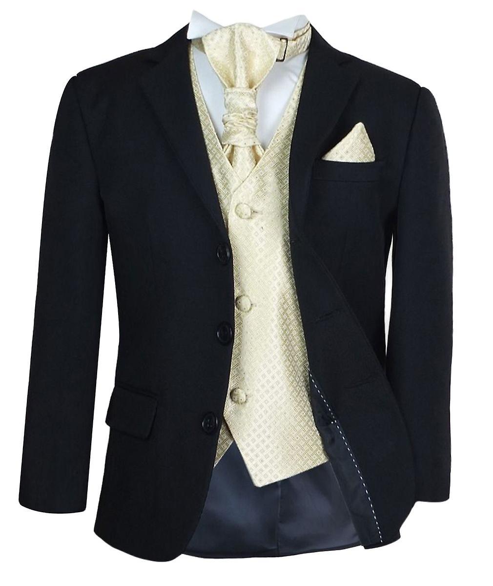 Garçons 5 nouveaux Pc noir & or mariage cravate costume