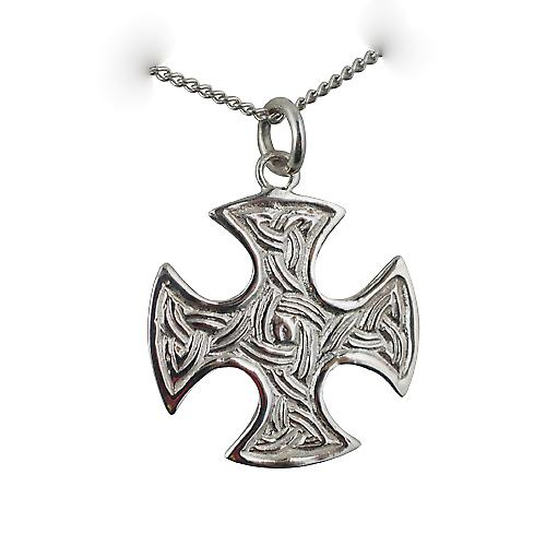 Silver 23mm Saxon embossed knot pattern Cross with a curb Chain 20 inches