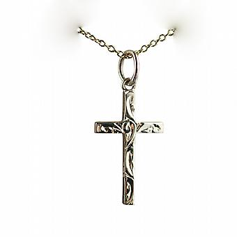 9ct Gold 20x12mm hand engraved solid block Cross with a cable Chain 20 inches