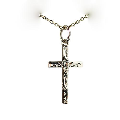 9ct Gold 20x12mm hand engraved solid block Cross with a cable Chain 16 inches Only Suitable for Children